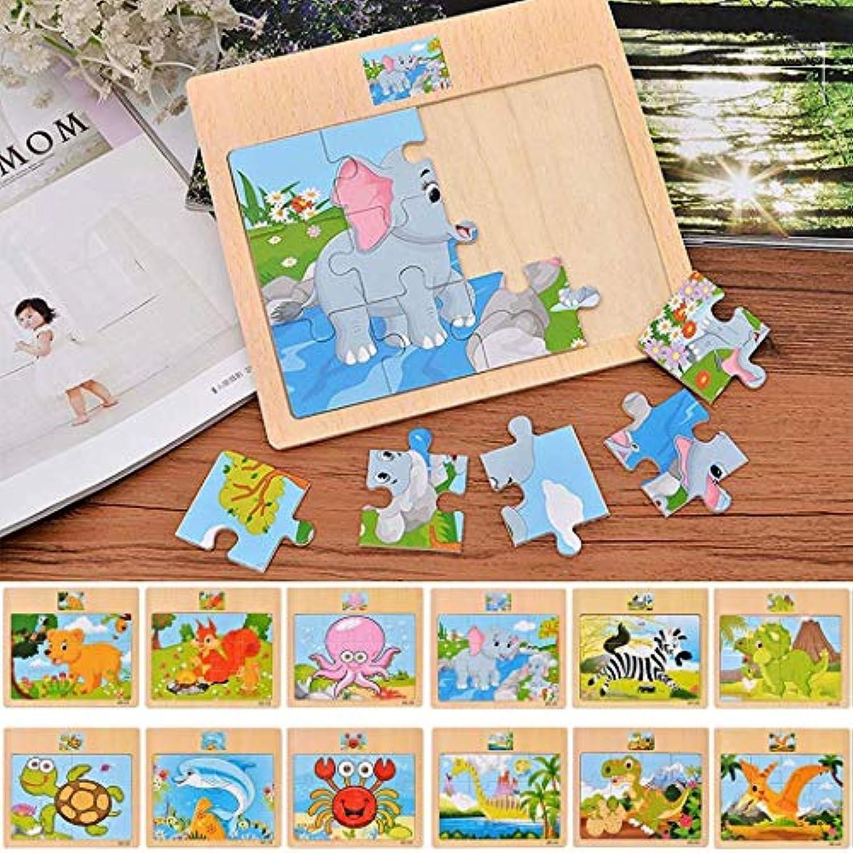 KOKOBUY 木製ジグソーパズル12点セット クリエイティブフラットパズル 教育玩具 子供 男の子 女の子 幼児向けギフト 33766