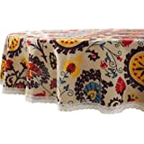 Lahome Bohemian Sunflower Tablecloth Heavy Weight Cotton Linen Table Cover Kitchen Dining Room Restaurant Party Decoration (R