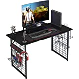 Need Gamer Gaming Desk -Home Computer Desk with Storage Shelves Black Gaming Table with RGB LED Soft Gaming Mouse Pad AC18CB1