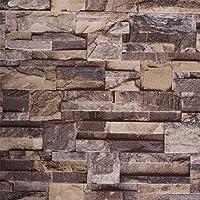モダンFaux Brick Stone Textured壁紙ロールダークグレーレンガブロックホーム部屋装飾20.8CM x 32.8Ft ブラウン