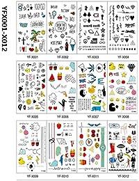 [TICENTRAL] タトゥー デザイン シール アルファベット ハート ネコ メッセージ リング 12枚入り セット