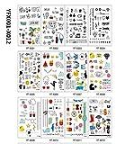 TICENTRAL  タトゥーシール タトゥー デザイン ステッカー シール Tattoo 12枚入り セット マーク アルファベット 韓国 韓流 可愛い 英字 英語 ハート ネコ メッセージ リング おしゃれ メンズ レディース ファッション ジュエリー