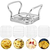 Potatoes Cutter, 5 in 1 Stainless Steel Potatoes Fruit Cutter Chipper Chopper Maker French Fry Tool Kitchen Gadgets, with 4 x