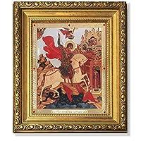 Framed withガラスSaint St Georgeアイコン本物ロシア木製81/ 4インチ