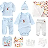 Newborn Gift Set Baby Initial First Equipment Clothing Bathtowel Bibs Baby with 10 Parts for Boys Girls Layette Set