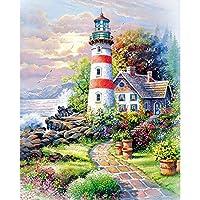 ZDDYX デジタル番号付き顔料塗装 美しい風景灯台diy塗装ビーズギフトパターン