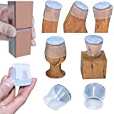 High transparency Chair Leg Covers, Felt Bottom Soft Silicone Furniture Foot Protector Pads, 16 Pcs Free Moving Table Leg Cov