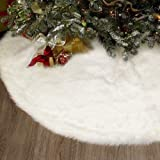 yuboo White Fur Christmas Tree Skirt, 30 inches Luxury Fluffy Tree Skirt Xmas Decorations for Holiday Party