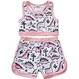 AMMENGBEI 2PCS Toddler Baby Girls Swimsuit Sleeveless Vest Tops +Short Pants Bathing Suit Set