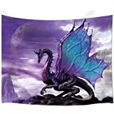 NYMB Medieval Fantasy Theme Wall Art Home Decor, Purple Dragon Tapestry Wall Hanging for Bedroom Living Room Dorm, 60X40in