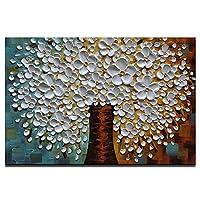 3D手描きアートワーク キャンバステクスチャード花柄油絵 ホワイトアート 抽象画 壁キャンバス絵画 リビングルーム ベッドルーム オフィス バスルーム キッチン 壁絵 ホーム装飾 壁装飾(24X36インチ)