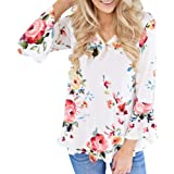 WOCACHI Tops for Womens, Floral Blouses T-Shirt Short Sleeve Flowy Chiffon Shirt