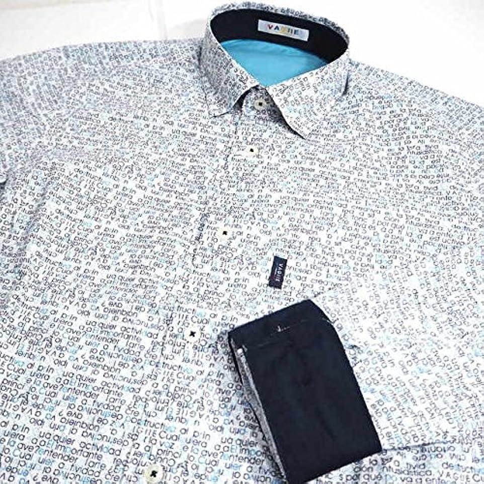 アクセル叙情的な調子30751 春夏 日本製 長袖シャツ 総柄 英字柄 ブルー(青) サイズ 46(M) VAGIIE バジエ 紳士服 メンズ 男性用