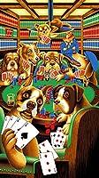 ポーカーのビンテージをしている犬 Dogs Playing Poker Vintage Painting silk fabric poster シルクファブリックポスター 140cm x 80cm