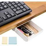 DailyTreasures Self-Adhesive Hidden Pencil Tray, Pencil Drawer Under Desk with 2pcs Sticky Notes-Hidden Desktop Pencil Tray U