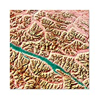 Abstract Pink Gold Mountains Green River Premium Wall Art Canvas Print 24X24 Inch 抽象ピンクゴールド山緑川壁