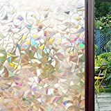 3D Decorative Self-Adhesive Window Film Privacy Static Cling Vinyl For Reuse Heat Control Mosaic Sun Blocking Stained Glasses Home Office Anti UV 23.6 X 78.7 Inches (60 x 200Cm)