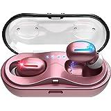 ワイヤレスイヤホン bluetooth 5.0 進級版 可愛い ローズゴールド ピンク 完全 ワイヤレス イヤホン 最新のTWS技術 スポーツ ワイヤレスイヤホン ハンズフリー通話 高音質 3Dステレオサウンド AAC オーディオ対応 (カナル型)