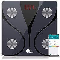 1byone 体重計 体組成計 Bluetooth対応 スマホ連動 体脂肪計 smart scale 体重/体脂肪率/体水分率/推定骨量/基礎代謝量/BMIなど測定 iOS/Androidアプリで健康管理 日本語説明書付き A-JP16(ブラック)【最新進化版】