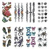 3D 立体感 一時的な タトゥー 入れ墨 刺青 8 異なった 枚 蜘蛛 Scorpio 花 蝶