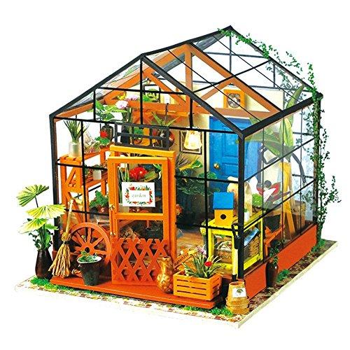 (moin moin) ドールハウス ミニチュア 手作りキットセット おしゃれなお店 LEDライト付属 ( ビニールハウスの花屋さん )