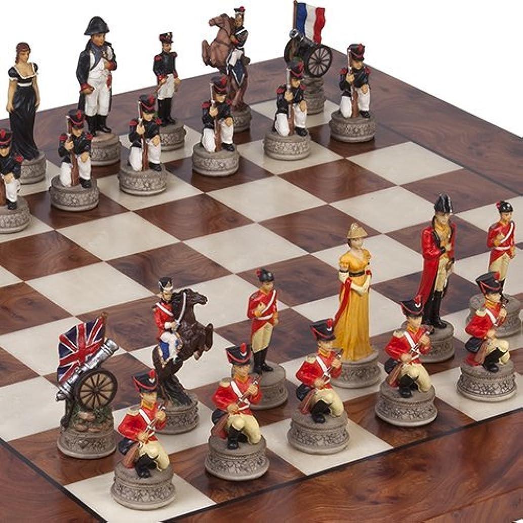 ハンドペイントナポレオン& The Duke of Wellington Chessmen & Agostino Luxuryチェスボードfrom Italy