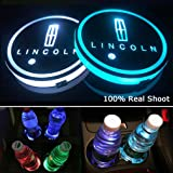 for Lincoln LED Cup Holder Lights,FBA Fast Delivery, Car Logo Coaster Lights with Multiple Colors, USB Charging Pads, Luminou