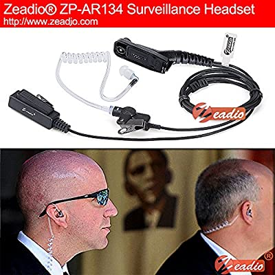 Zeadio Surveillance Covert Air Acoustic Tube Walkie Talkie Earpiece Headset with Push-To-Talk Microphone for Motorola Multipin Two Way Radio
