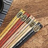 木製 箸 和食器 創意礼品 ギフトの5膳セット 六角 天然木製食器 漆塗り 和風 エコ 1膳約20グラム 22.6cm