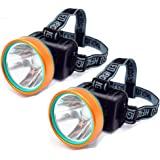 2Pcs Waterproof 50W 2600ft Bright Range Keep Working 26+hrs LED Headlamp Torch Outdoor Rechargeable Headlight for Camping Hun