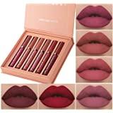 6Pcs Matte Liquid Lipstick Makeup Set, Matte liquid Long-Lasting Wear Non-Stick Cup Not Fade Waterproof Lip Gloss (Set A)