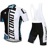 Men's Cycling Jersey Short Sleeve Full Zip Bike Clothing Set Quick-Dry Bib Shorts with 3D Gel Padded