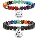 Jovivi 7 Chakras Gemstone Yoga Meditation Healing Balancing Round Stone Beads Stretch Bracelet with Tree of Life/Lotus/OM Sym