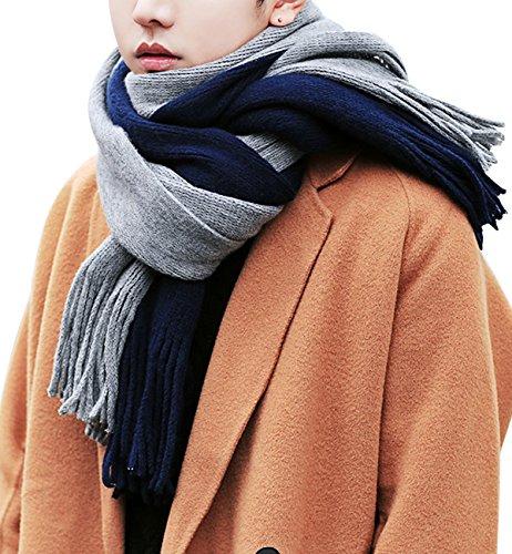 (シュアナウ)SURENOW マフラー メンズ ロングマフラー ウールタッチ カラー切替 起毛素材 カジュアル 厚手 大判ストール ふんわり 防寒対策