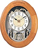 リズム時計 電波 からくり 掛け時計 アナログ スモールワールドソルシアF 30曲 メロディ 茶 (半艶仕上げ) Small World 4MN422RB06