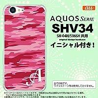 SHV34 スマホケース AQUOS SERIE ケース アクオス セリエ イニシャル 迷彩B ピンクC nk-shv34-1164ini Q