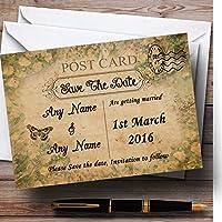 White Roses Vintage Shabby ChicはがきPersonalized結婚を保存日付C。。。 50 Invitations