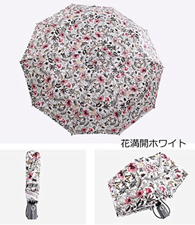 自動開閉 晴雨兼用 花満開、塔と時計模様 ジャンプ傘 折りたたみ傘 4934464-WH (花満開ホワイト)