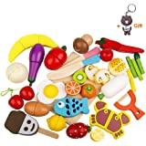 HOWADE Play Food Set 30 PCS, Wooden Cutting Food Magnetic Fruits and Vegetables Kitchen Set Educational Toy for Preschool Age
