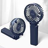 【2020年最新】Aujen 携帯扇風機 充電式 最大作動時間35h ハンディファン 手持ち扇風機 小型 卓上扇風機 5200mAh モバイルバッテリーあり パワーバンク 首かけ 携帯便利折り畳んで スタンド機能 ストラップ付き 分離式 ブルー