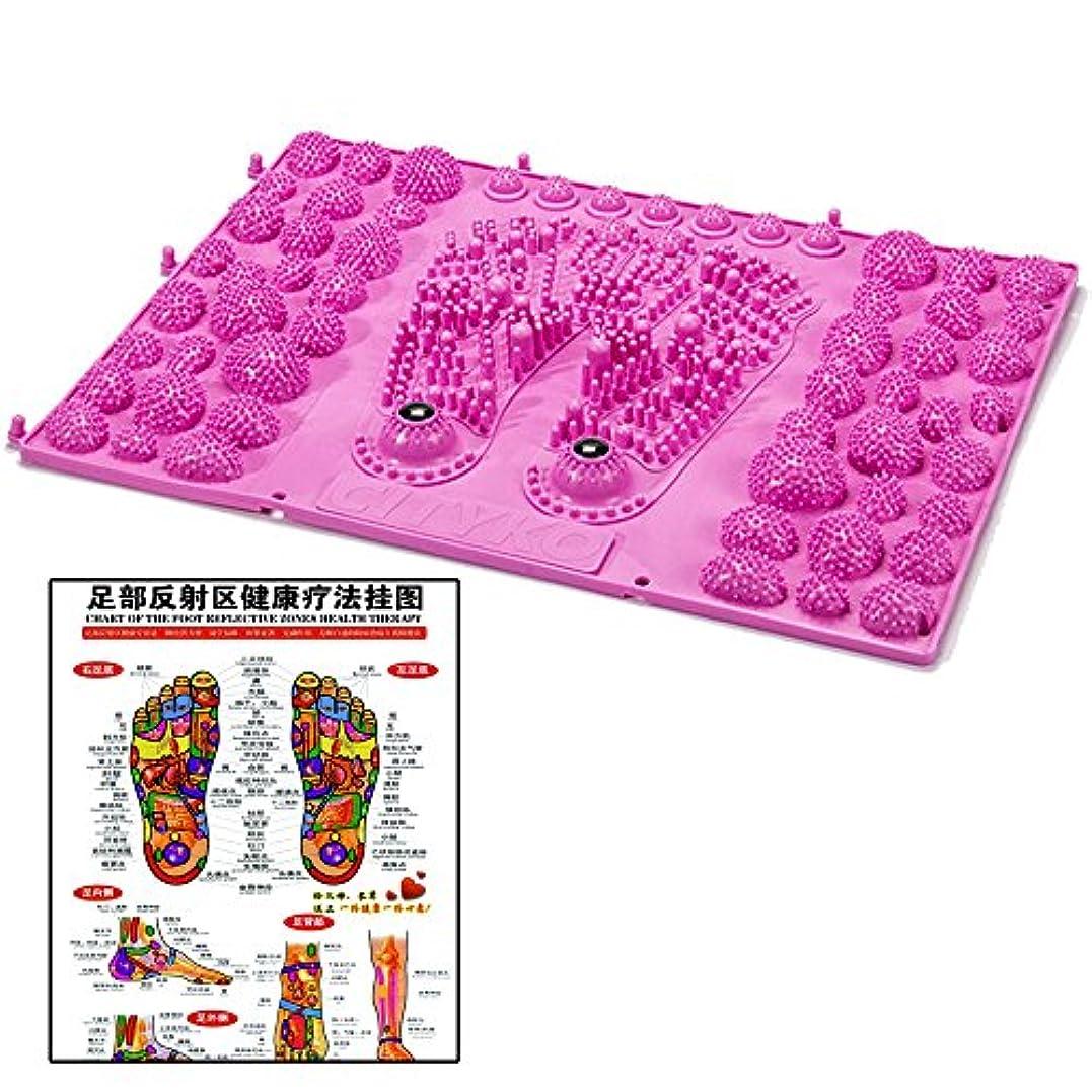 夜明けバイナリナイロン(POMAIKAI) 足型 足ツボ 健康 マット ダイエット 足裏マッサージ 反射区 マップ セット (ピンク)
