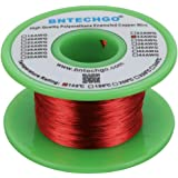 """BNTECHGO 34 AWG Magnet Wire - Enameled Copper Wire - Enameled Magnet Winding Wire - 4 oz - 0.0063"""" Diameter 1 Spool Coil Red"""
