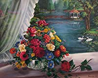 Wowdecor 数字油絵 数字キット40×50cm - 白鳥の湖レッドローズフラワーブーケ - DIY ぬりえ 塗り絵 絵画 趣味 インテリア (フレームレス)