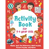 Activity Book For 5-6 Year Olds: Mazes, Spot the Difference, Math Puzzles, Picture Puzzles, and More!: (Gift Idea for Girls a