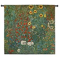 "Klimt Farm Garden with Sunflowers 45"" W壁タペストリー"