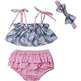 AMILIEe Newborn Baby Girls There Pieces Dinosaur Floral Bikini Swimwear +Headband Bathing Suit