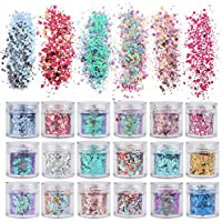 18 Boxes Holographic Cosmetic Festival Chunky Glitters Sequins, Nail Sequins Iridescent Flakes, Cosmetic Paillette Ultra-thin Tips, for Body Face Hair Make Up Nail Art Mixed Color Glitter