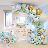 Baby Shower Decorations for Boy - Blue Balloon Garland Kit, 124 Macaron Latex balloons Blue, Confetti Balloon, Balloon Garlan