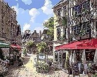 新着DIY油絵 数字油絵 数字キットによる絵画 - バル ー40x50cm - 家の装飾のギフト- 景物 (E115, 木製フレーム)