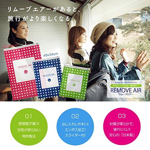 【日本製】旅行 出張 に便利な 衣類 圧縮袋 リムーブエアー ●特許製法 逆止弁 使用● M・L 各5枚 10枚組